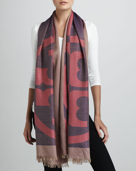Reva Printed Scarf, French Rose