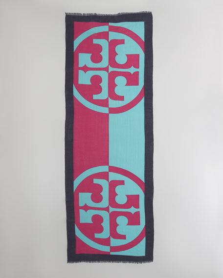 Reva Printed Scarf, Fuchsia/Turquoise