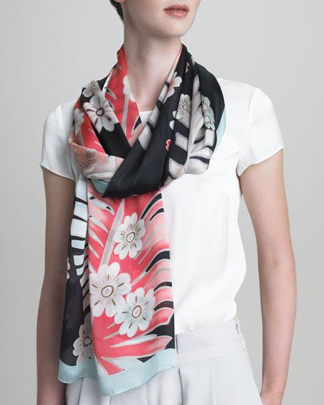 Botanical Silk-Print Stole