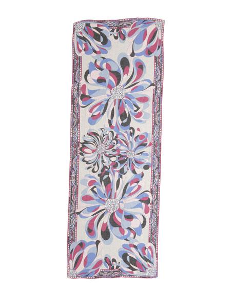 Azalea-Print Stole, Cyclamin