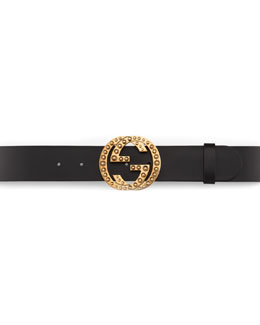 Gucci Metal Stud Interlocking GG Leather Belt, Nero