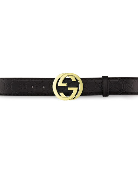 Leather GG Buckle Belt, Nero