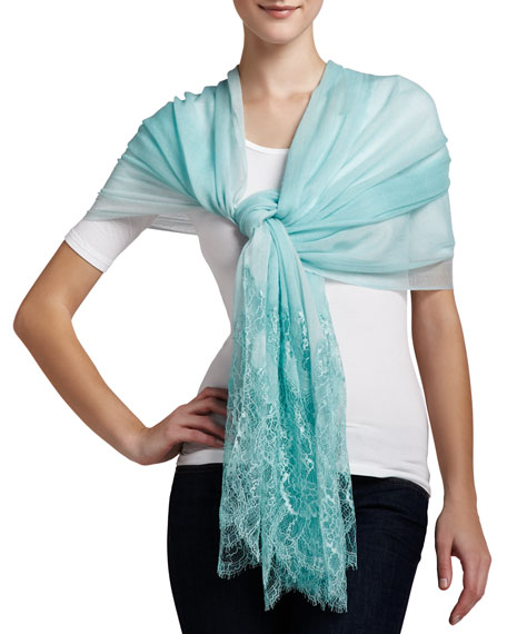 Lace-Inset Wool Shawl, Aqua