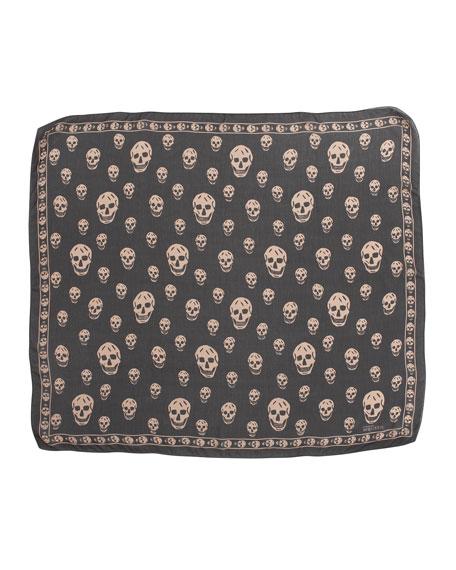 Skull-Print Chiffon Scarf, Black/Blush