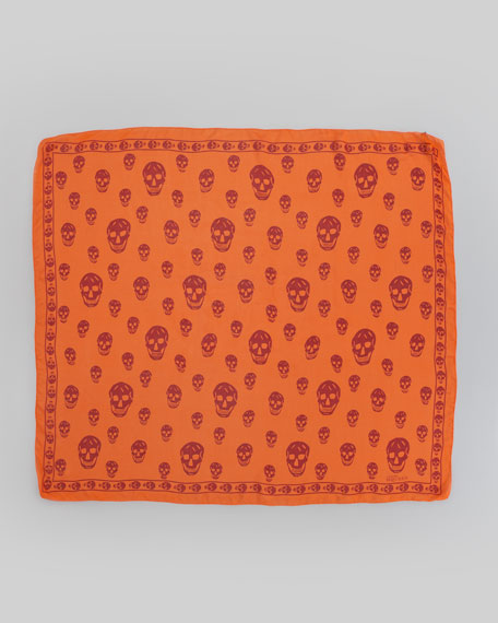 Skull Chiffon Scarf, Orange/Red
