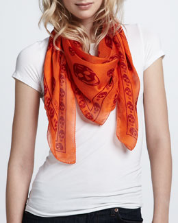 Alexander McQueen Skull Chiffon Scarf, Orange/Red