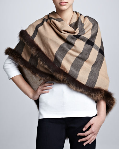 Fox Fur-Trimmed Check Scarf, Camel