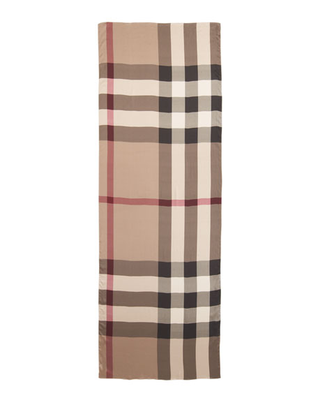 Mega Check Silk Satin Scarf, Smoked