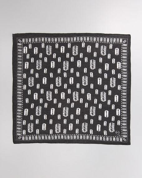 Razor Blade-Print Square Scarf, Black