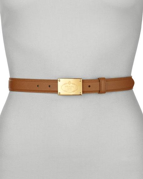 Saffiano Logo Dress Belt, Caramel
