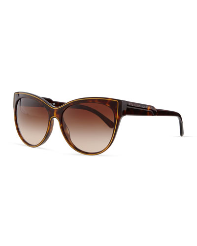 Stella McCartney Soft Opaque Cat-Eye Sunglasses, Dark Tortoise