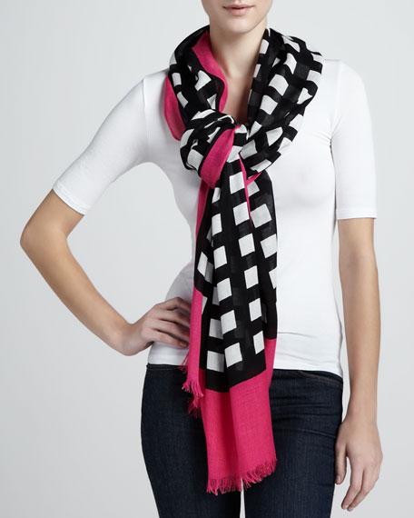 pop art grid-print scarf, black/cream/pink