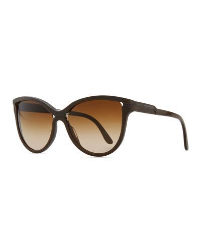Stella McCartney Semi-Round Cat-Eye Sunglasses, Brown