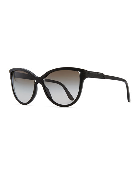 Semi-Round Cat-Eye Sunglasses, Black