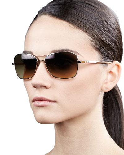 Oliver Peoples Sanford Rectangle Aviator Sunglasses, Golden