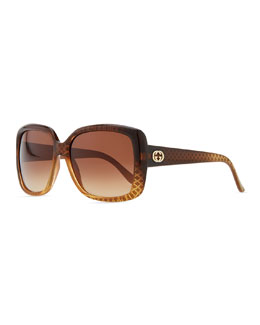 Gucci Oversized Square Diamond-Pattern Sunglasses, Cuir