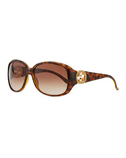 Gucci Wrap Crystal Logo Sunglasses, Havana