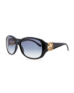 Gucci Wrap Crystal Logo Sunglasses, Black