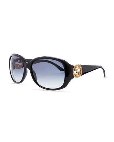 Gucci Wrap Crystal Logo Sunglasses, Black