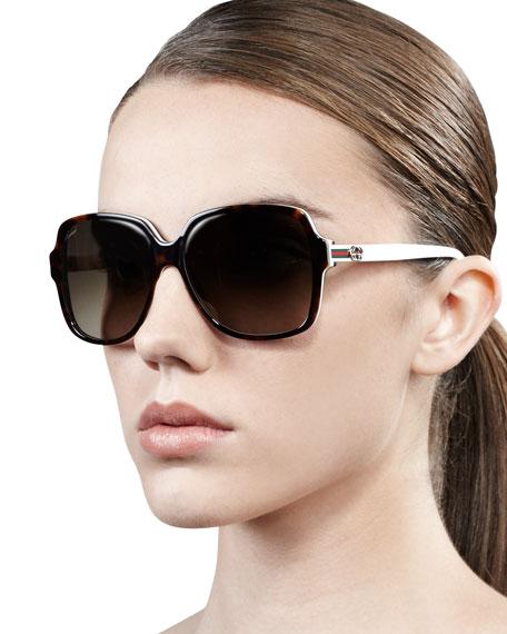 Oversized Square Web-Logo Sunglasses, Dark Havana