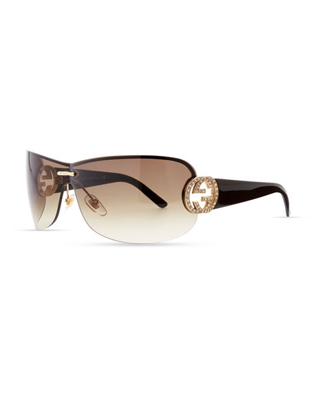 Interlocking GG Shield Sunglasses, Brown