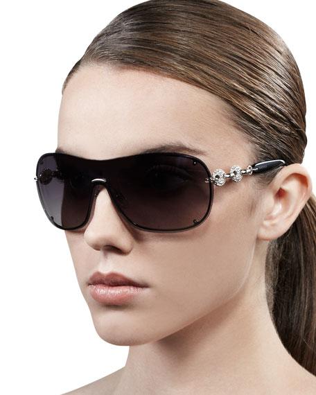 Crystal-Linked Shield Sunglasses, Ruthenium