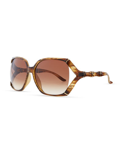 Gucci Open Bamboo-Temple Sunglasses, Brown Horn