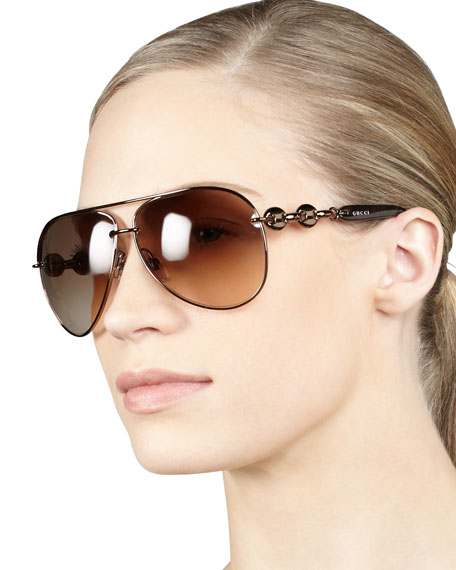 Temple-Detail Aviator Sunglasses, Chocolate