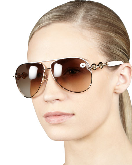 Temple-Detail Aviator Sunglasses, White