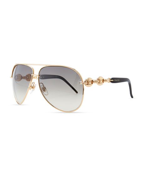 Temple-Detail Aviator Sunglasses, Rose Golden
