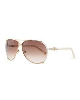 Dior Chicago Crystal Aviator Sunglasses, Rose Golden/Violet