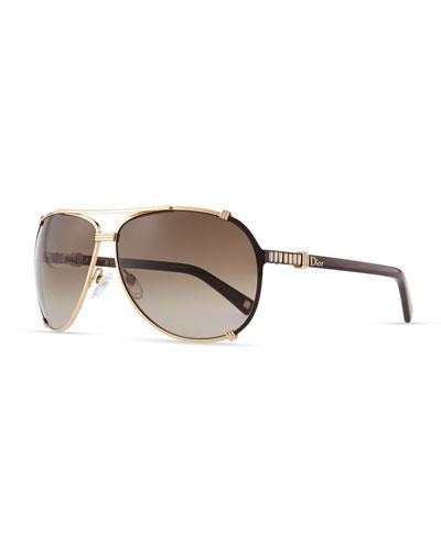 Dior Chicago Crystal Aviator Sunglasses, Rose Golden/Brown