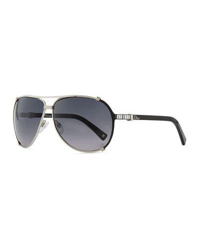 Dior Chicago Crystal Aviator Sunglasses, Palladium/Gray