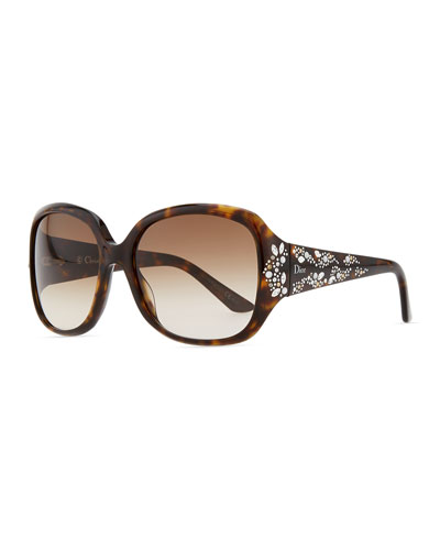 Dior Minuit Crystal-Encrusted Oversized Wrap Sunglasses, Dark Havana