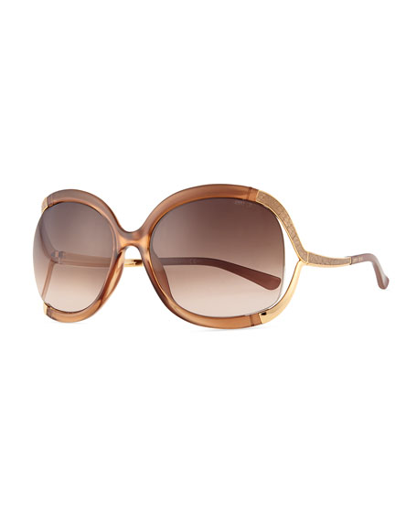 Beatrix Open-Temple Round Sunglasses, Pink