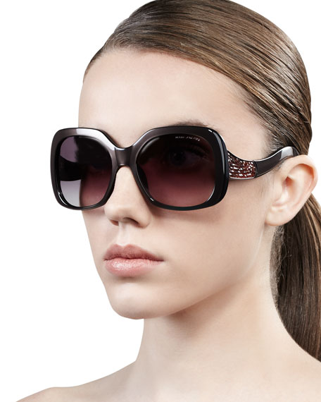 Crystal-Temple Oversized Square Sunglasses, Pearl Brown