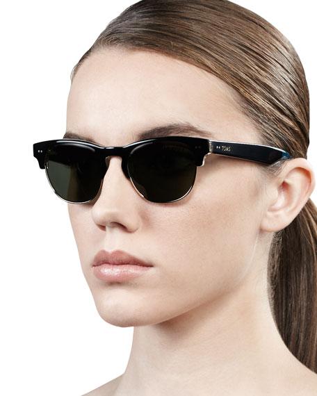 Lobamba Semi-Round Sunglasses, Black
