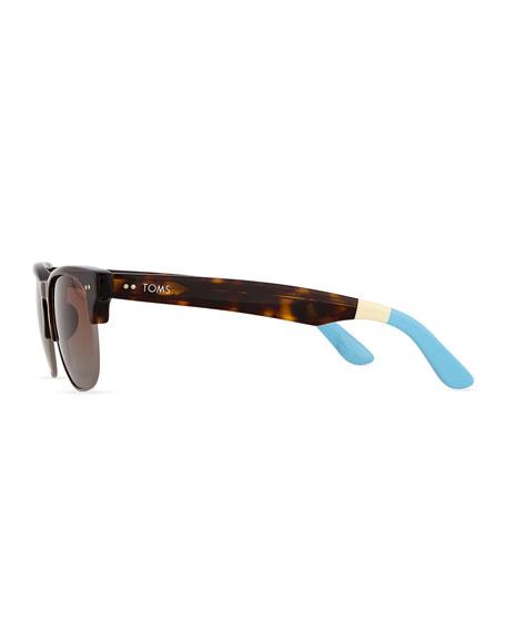 Lobamba Semi-Round Sunglasses, Brown
