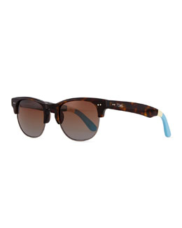 TOMS Eyewear Lobamba Semi-Round Sunglasses, Brown