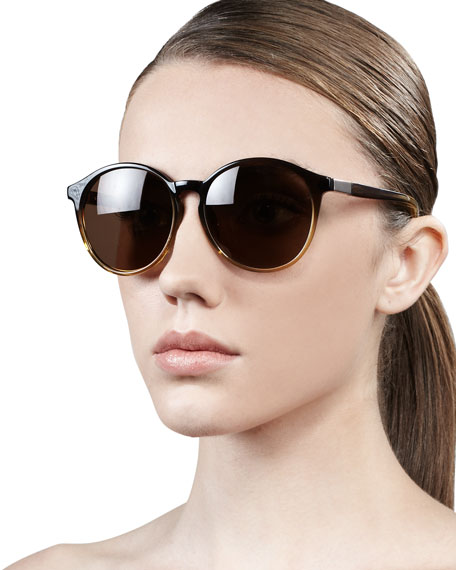 Oversized Round Sunglasses, Brown/Yellow