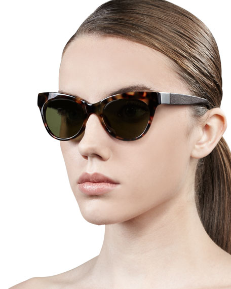 Leather-Arm Cat-Eye Sunglasses, Tortoise