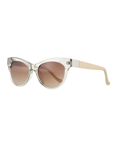 Leather-Arm Cat-Eye Sunglasses, Clear Gray