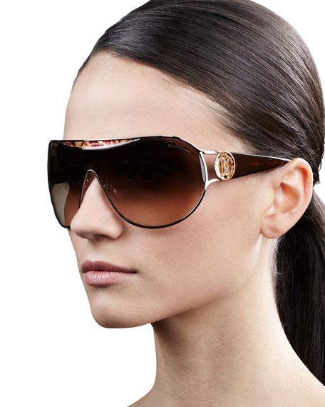 Metal-Framed Shield Sunglasses, Havana