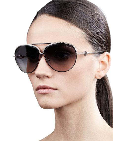 Logo-Temple Aviator Sunglasses, Black