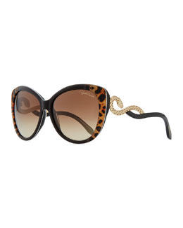 Roberto Cavalli Serpent-Temple Oversized Cat-Eye Sunglasses, Leopard