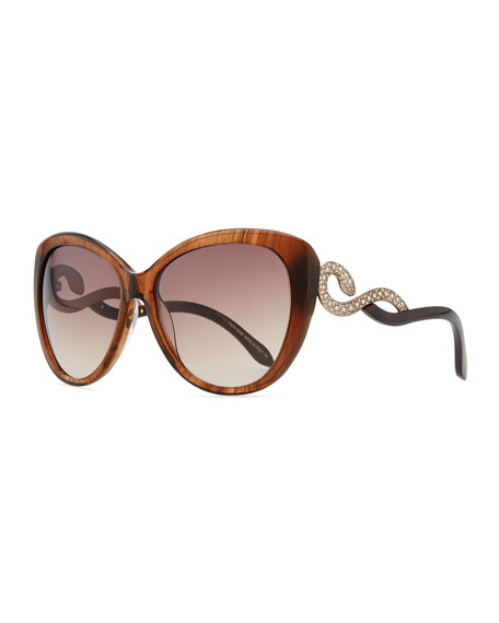 Serpent-Temple Oversized Cat-Eye Sunglasses, Brown