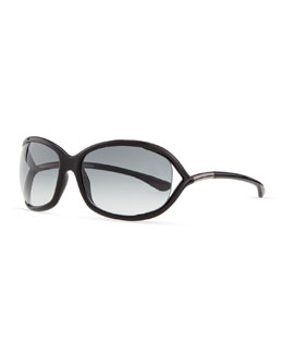 Tom Ford Jennifer Open-Temple Sunglasses, Black/Gunmetal