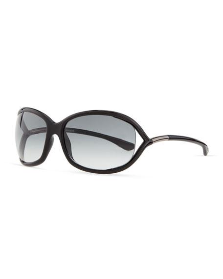 Jennifer Open-Temple Sunglasses, Black/Gunmetal