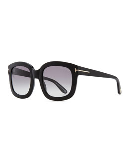 Tom Ford Christophe Oversized Sunglasses, Shiny Black