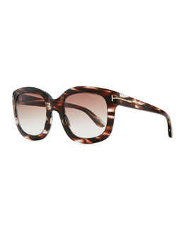 Tom Ford Christophe Oversized Sunglasses, Brown